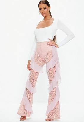 Missguided Lace Ruffle Trousers
