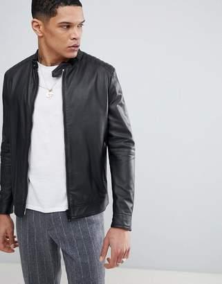 Antony Morato Leather Bomber Jacket In Black