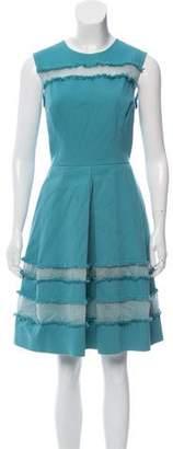 Lela Rose Semi-Sheer Sleeveless Dress