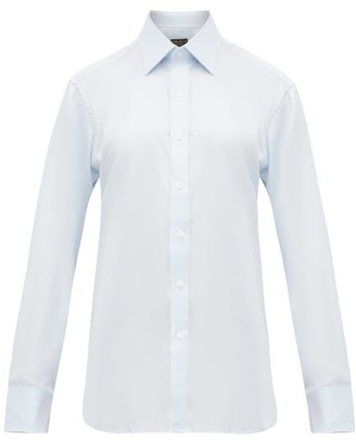 Emma Willis Herringbone Weave Cotton Slim Fit Shirt - Womens - Light Blue