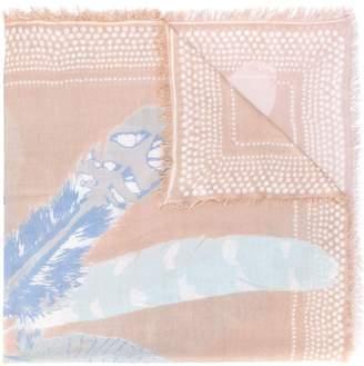 Hemisphere cashmere feather print scarf