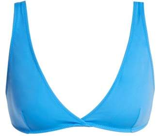 Solid & Striped The Beverly Deep V Neckline Bikini Top - Womens - Blue