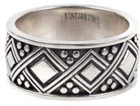 Konstantino Men's Diamond-Carved Sterling Silver Band Ring