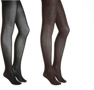 Via Spiga Matte Striped Tights - 2 Pack - Women's