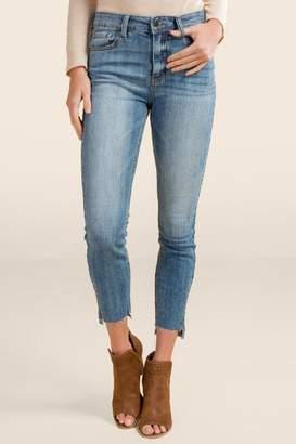 francesca's Hayes High Rise Zipper Hem Skinny Jeans - Lite