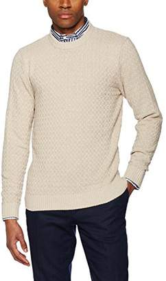 Hackett London Men's Basket Stitch Crew Cardigan,Large
