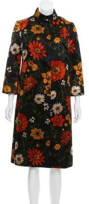 Dolce & Gabbana Floral Print Long Coat