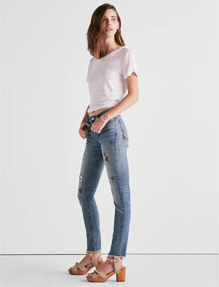 Lucky Brand Ava Mid Rise Skinny Jean With Floral Embroidery