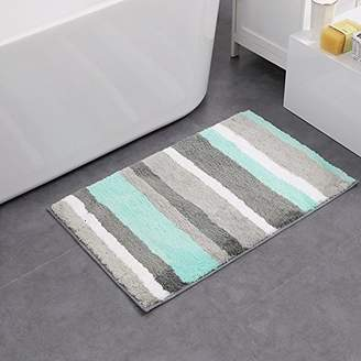 "HEBE Non-slip Bathroom Rug Mat Shag Microfiber Shower Bath Rug Absorbent Bath Mat for Bathroom Machine Washable(18×26"""