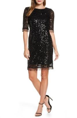 Taylor Dresses Fringed Sequin Dress