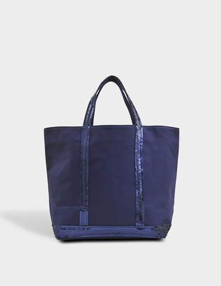 Vanessa Bruno Sequin and Canvas Medium Tote Bag in Indigo Cotton