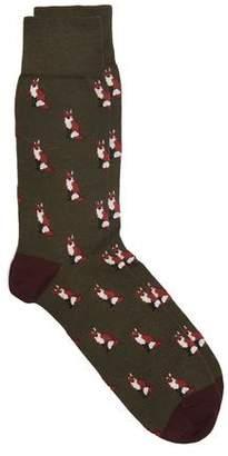 Corgi Foxes Socks in Green