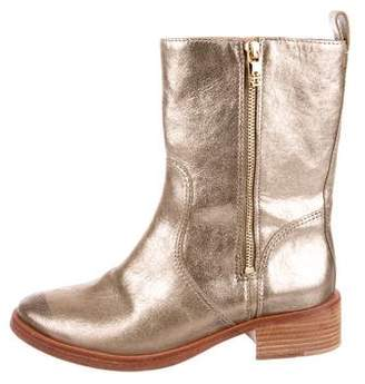 Tory Burch Leather Metallic Booties