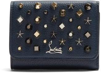 Christian Louboutin Macaron Tri Fold Embellished Leather Wallet - Womens - Blue Multi