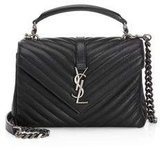 Saint Laurent Medium College Quilted Leather Crossbody Bag