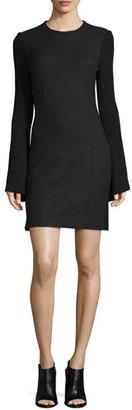 Derek Lam 10 Crosby Ribbed-Sleeve Crepe Sheath Dress, Black $595 thestylecure.com