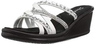 Skechers Women's Rumblers-Glass Flowers-Rhinestone Multi-Strap Slide Wedge Sandal