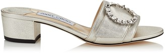 Jimmy Choo GRANGER 35 Silver Metallic Nappa Leather Mules with Crystal Buckle