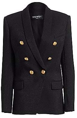 Balmain Women's Double-Breasted Glitter Jacket