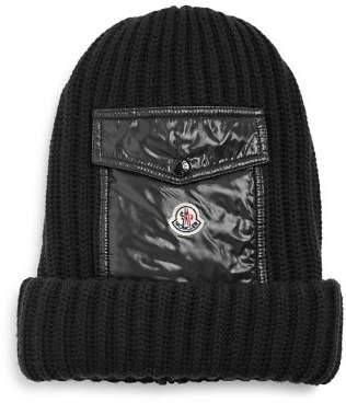 Moncler Laque Pocket Mixed-Media Knit Hat