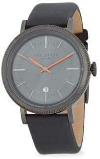 Ted Baker Etched Stainless Steel Leather Strap Watch
