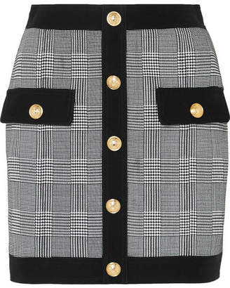 Balmain Button-embellished Prince Of Wales Checked Cotton-blend Mini Skirt - Black