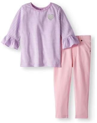 a852dce9e at Walmart.com · Garanimals Bell Sleeve Shirt & Jeggings, 2pc Outfit Set (Toddler  Girls)