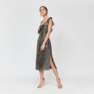 Warehouse Foil Star Jacquard Wrap Dress
