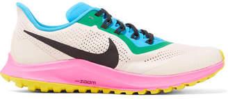 Nike Air Zoom Pegasus 36 Trail Mesh And Leather Sneakers - Ecru