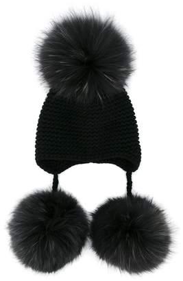 Inverni raccoon fur pom pom beanie