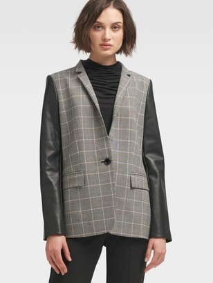 DKNY Check-Print Jacket With Contrast Sleeve