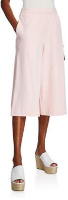 Joan Vass Stretch Interlock Cropped Wide-Leg Pants