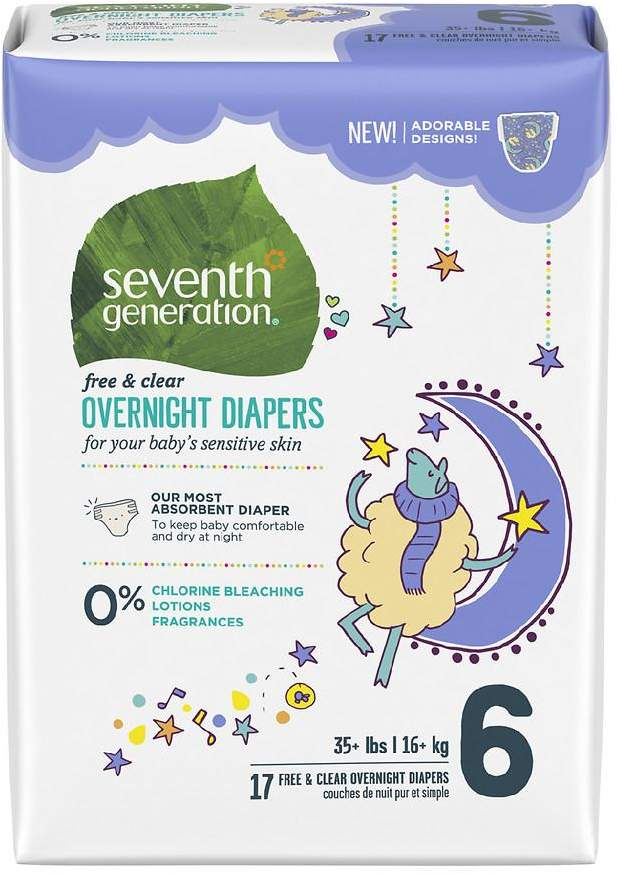 Seventh Generation Free & Clear Baby Overnight Diapers Stage 6, 35+ lbs