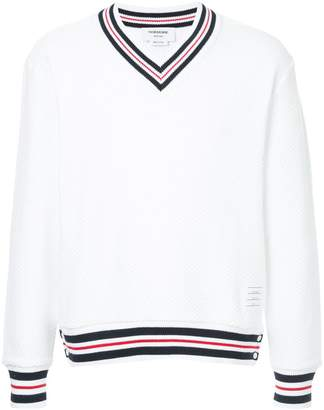 Thom Browne Boxy V-Neck Pullover With Cricket Stripe In Chunky Basket Stitch