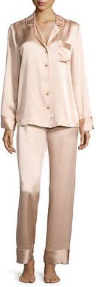 Neiman Marcus Satin Silk Two-Piece Pajama Set $190 thestylecure.com