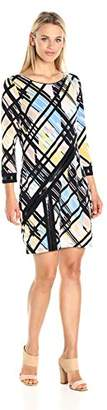 Laundry by Shelli Segal Women's 3/4 Sleeve Printed Dress Patent Faux Leather Deatils