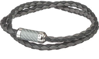 Tateossian Montecarlo leather bracelet with silver and enamel clasp