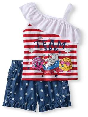Americana Shopkins Girls' One Shoulder Top And Short 2-Piece Outfit Set
