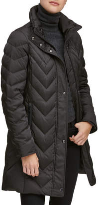 Andrew Marc Chevron Down-Fill Faux-Fur Hooded Coat