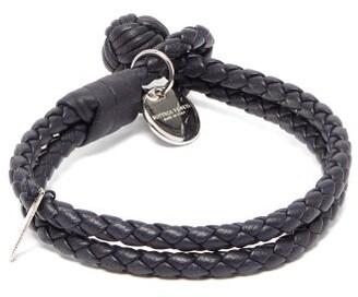 Bottega Veneta - Double Wrap Leather Bracelet - Mens - Navy