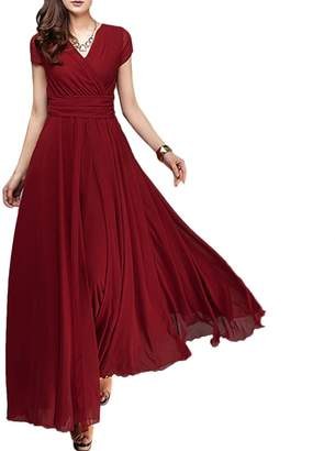 OwlFay Summer Maxi Long Chiffon Dresses for Women Casual Formal Wedding Bridesmaid Wrap Party Dresses Pageant Cocktail Evening Prom Swing Gown 2XL