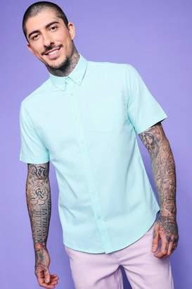 boohoo Mint Short Sleeve Oxford Shirt