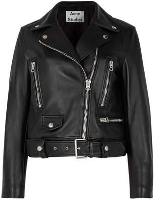 Acne Studios Mock Black Leather Biker Jacket