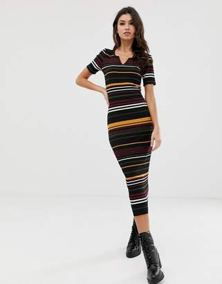 Asos DESIGN stripe rib midi bodycon dress with v neck