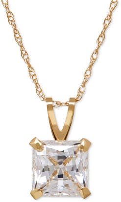 Macy's Princess-Cut Cubic Zirconia Pendant Necklace in 14k Gold or White Gold
