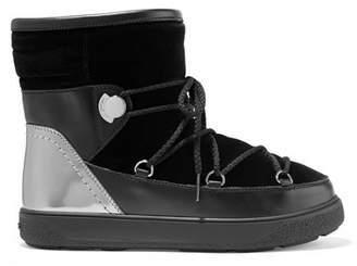 Moncler Stephanie Leather-trimmed Velvet Boots - Black