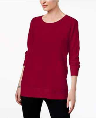 Karen Scott Petite 3/4-Sleeve Sweatshirt, Created for Macy's