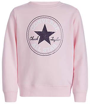 Converse Girls' Vintage Crew Neck Jumper, Pink