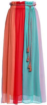 Antik Batik Tasseled Color-block Chiffon Maxi Skirt