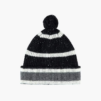 James Perse STRIPED CASHMERE WAFFLE KNIT BEANIE